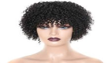 Photo of Curly Human Hair Wig with Bangs